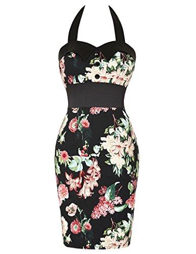 Women's Vintage Style Floral Pattern Pencil Dresses Size 16