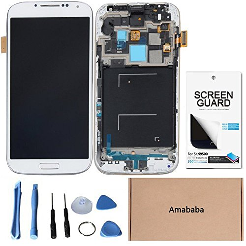 Amababa(Tm)Lcd Touch Screen Digitizer Assembly With Frame For Samsung Galaxy S4 Siv I545 L720 R970 Cdma Models - Verizon I545/Sprint L720 L720T/Us Cellular R970/Cricket R970C (Repair Tool Kits + Screen Protector For Free) (White)