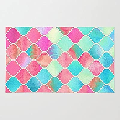 Society6 Watercolor Moroccan Patchwork In Magenta, Peach & Aqua Rug
