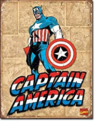 "Captain America Retro Panels Metal Tin Sign 16""h X 12.5""w"