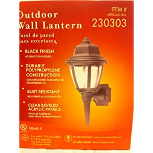 Click to buy Black Portfolio Outdoor Wall Lantern Light W/clear Panelsfrom Amazon!