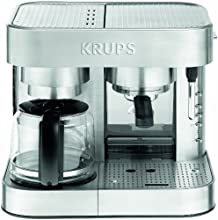 KRUPS XP604 Die Cast Pump Espresso Machine and Coffee Maker Combination with Milk Frothing Nozzle, 10-Cup, Silver