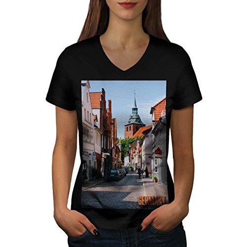 old-town-alley-road-german-city-women-new-black-s-2xl-v-neck-t-shirt-wellcoda