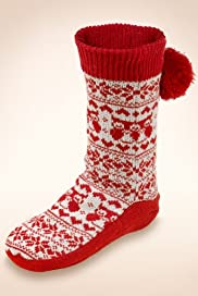 Owl & Fair Isle Slipper Socks with Wool [T60-5557-S]