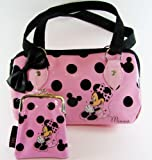 Disney Minnie Mouse - Gorgeous Pink Polka Dot and Sateen Bow Handbag and Purse Gift Set - EASTER SPECIAL PURCHASE!