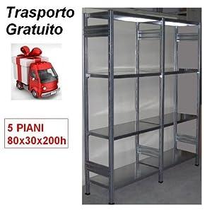 Scaffalatura metallica zincata ad incastro con 5 piani cm for Piani di garage rv staccati