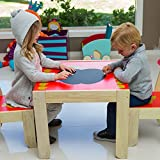 Labebe Christmas Gift for Kids Birch Wood Table and 2 Chairs Set - Apple (Red) [Baby Product]