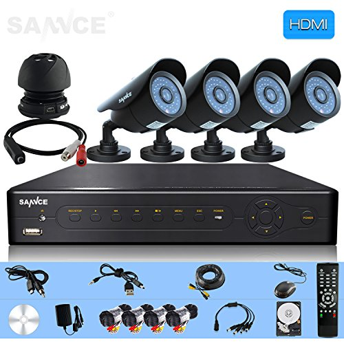 Sannce Completely 8Ch Real-Time Surveillance Dvr With 4 800Tvl Ir Weatherproof Cameras And 1Tb Hdd W/ Audio Powered Microphone With Power Supply And Cable Security Kits ( Black )