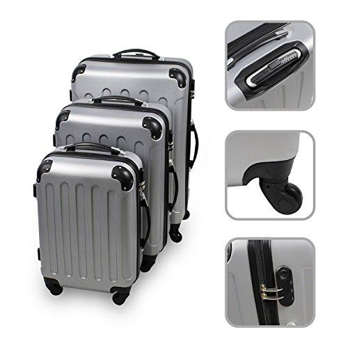 Serie di 3 valigie Trolley argento - Valigie rigide a rotelle con sicurezza.