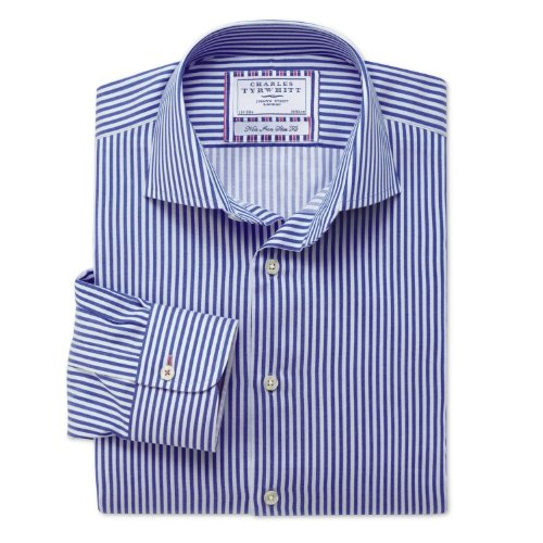 Charles Tyrwhitt Sky and royal Bengal non-iron business casual slim fit shirt (17 - 37)