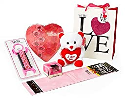 Valentines Day Gift Set for Her - Includes: Sparkly Gift Bag, Heart Chocolate Gift Box, Limited Edition Hearts TABI, Plush Teddy, Romance Candle, Matching Tissue Paper. Easy Assembly