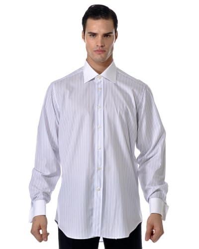 Camicissima Camisa Rayas Gemelos con Puños / Cuello al contraste Blanco / Azul / Rojo