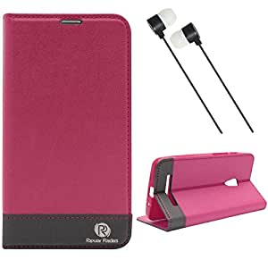 Dmgpraiders Wallet Stand Case For Asus Zenfone 5 (Pink) + Black Stereo Earphone With Mic And Volume Control