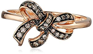 10k Rose Gold Brown Diamond Bow Ring ( .14 cttw, H-I Color, I2-I3 Clarity), Size 7