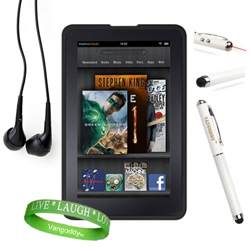 Amazon Kindle Fire Accessories Kit, Bundle Includes: Black Dust Resistant Kindle Fire Skin Cover + Multifunctional Kindle Fire Stylus Pen ( Accurate Stylus, Laser Pointer, & Led Light ) + Compatible Noise Reduction Black Kindle Fire Earbuds Earphones + Va