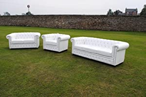 White Bycast Leather Chesterfield Diamante 3 Piece Suite  by Chesterfield