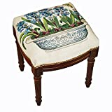 Stool - Hyacinth Bouquet Needlepoint Stool - Vanity Seat - Upholstered Stool