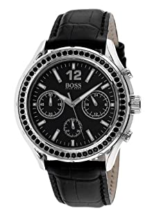 buy Hugo Boss Chronograph Black Dial Black Leather Ladies Watch 1502264