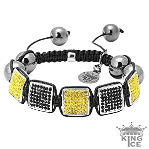 Square Disco Black & Yellow CZ Iced Out Bracelet