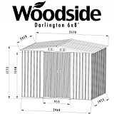 Woodside Darlington 6 x 8' Metal Garden Apex Roof Shed with FREE Foundation