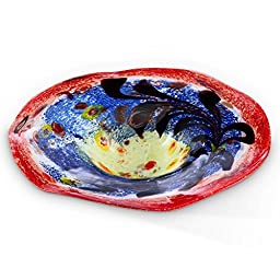Puddle Shaped Glass Basin Bird Bath (Top Only) in Blue and Red with Beautiful Pattern