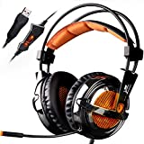 SADES A6 7.1 Surround Sound Stereo USB PC Gaming Headsets Headband Headphones with HiFi Microphone Over-the-Ear Volume Control Remote Over-the-Ear Breathing LED Lights(Electroplating Version)