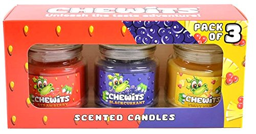 Chewits Scented Sweet Candles Gift Pack. Remind yourself of the fizzy and mouthwatering flavours - strawberry,  blackcurrant and fruit salad.