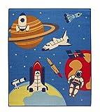 イケヒコ デスクカーペット 男の子 宇宙柄 『スペース』 ブルー 約133×170cm