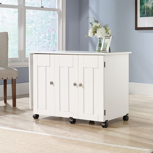 Sauder Sewing Craft Cart in Soft White (Folding Cutting Table compare prices)