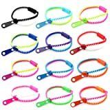 12 Pcs Assorted Mixed Color Wholesale Lot Neon Color Zipper Zippy Zip Zap Friendship Bracelet