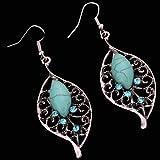 Yazilind Jewelry Vintage Tibetan Silver Leaf Shape Turquoise Crystal Drop Dangle Earrings for Women