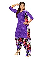 Khushali Presents Crepe Dress Material(Purple,Multi)