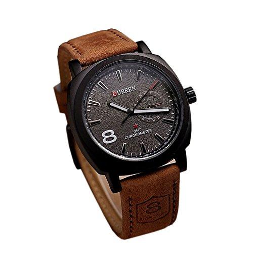 Dayan Fashional Chronometer Quartz Unisex Stylish Quartz Analog Watch With Leather Strap Black Dial