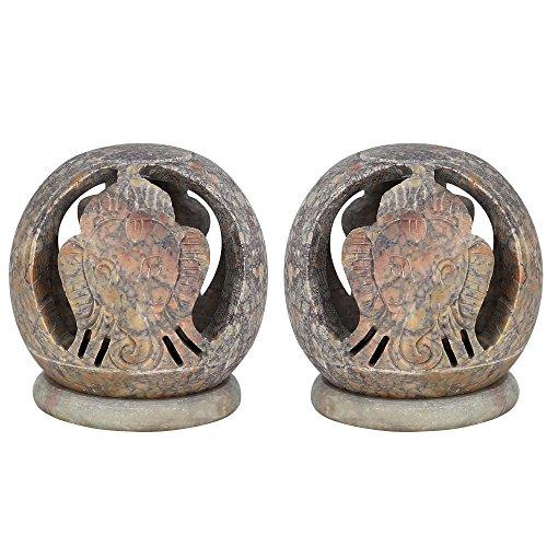 Set di 2 - Porta a mano Ganesha Soapstone Tealight - Supporto di candela decorativo Globe