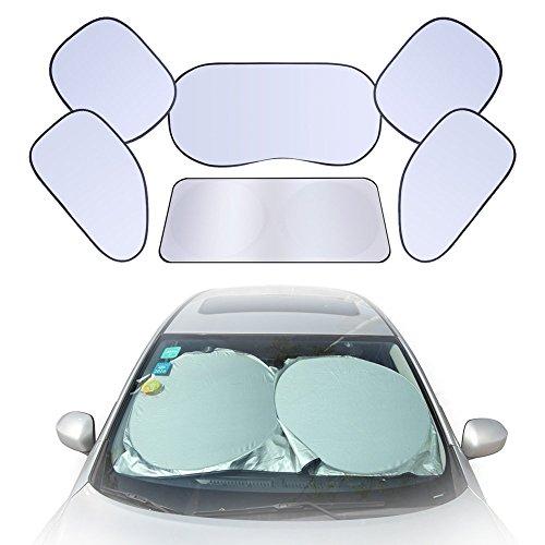 GHB Set Parasole Auto Pieghevole Parasole per Parabrezza Auto Universale Kit da 6 pezzi con Custodia - Argento