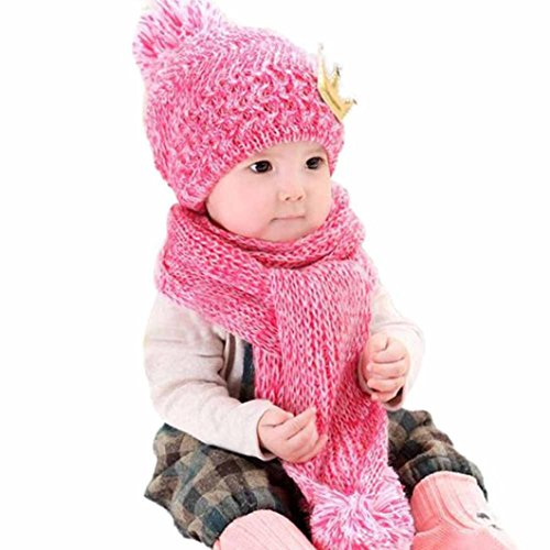 Baby Hood Scarf, Misaky Winter Baby Kids Girls Boys Warm Woolen Coif Caps Hats (Hot Pink)