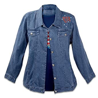The Bradford Exchange American Flag Women's Denim Jacket: American Sparkle Small Blue