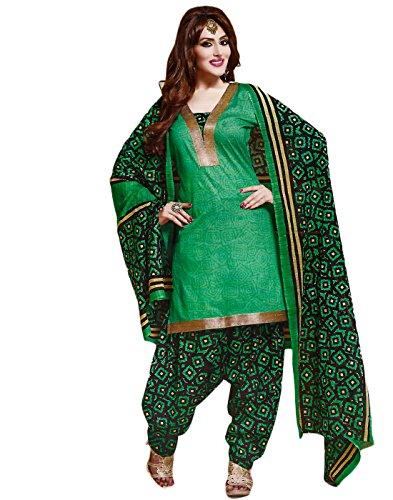 Jevi Prints Green Unstitched Punjabi Suit Mangalgiri Border