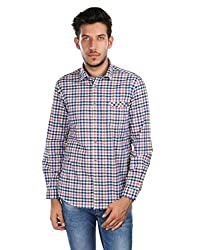 Oxemberg Men's Checkered Casual 100% Cotton Red Shirt