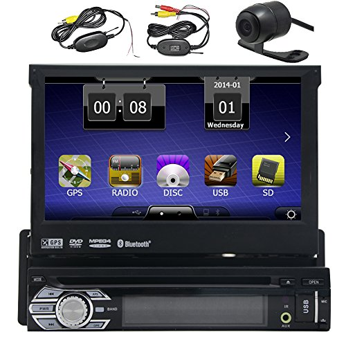 HD Wireless Backup Camera Eincar Single 1 DIN 7 inch Motorized HD Touchscreen Car Stereo Autoradio GPS CD DVD Player Receiver, Bluetooth, Detachable Front Panel With 8 GB Map Card+Wireless Remote (Dvd Player For Car Motorized compare prices)