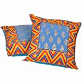 Little India Jaipuri Hand Block Gold Print Cotton 2 Piece Cushion Cover Set - Multicolor