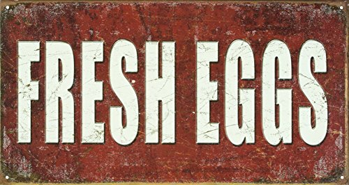 Fresh Eggs Distressed Retro Vintage Tin Sign (Vintage Chicken Signs compare prices)