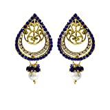 Unicorn's Drop Shape Designer Dangle Earrings with Mesh for Women (Blue) - UEKMER3801BU
