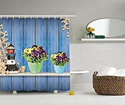 Ambesonne Pansy Flowers Decorations Collection, Blue Wooden Planks Old Lighthouse and Fishing Nets, Polyester Fabric Bathroom Shower Curtain Set with Hooks