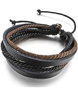 MunkiMix Genuine Leather Cuir Véritable Bracelet Bracelet Corde Corde Brun Noir Surfer Enveloppez Enrouler Tressé Motard Biker Réglable Convient 7~9 Pouce Homme