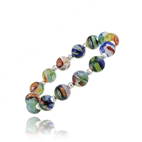 Sterling Silver Venetian Murano Glass Beaded Millifiori Flower Stretch Bracelet