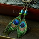 Alice Women Retro Earrings with Peacock Feather and Colored Glaze as Pendant