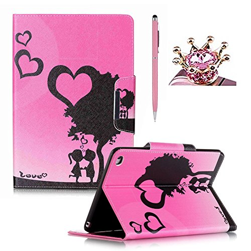 iPad Mini 4 Case,Colorful Printed Flip Foilo Stand PU Leather Smart Case Cover with Metal Magnetic Close for iPad Mini 4,SKYXD Pretty Fashion Love Heart Tree Pattern Book Style Full Protection Tablet Case Cover Skin with Built in Wallet Function and Card Slots for iPad Mini 4 + Pink Stylus + Pink Crown Dust Plug