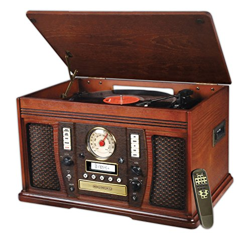 Innovative Technology ITVS-750 Nostalgic Aviator 6-in-1 Turntable Wooden Entertainment Center, Mahogany