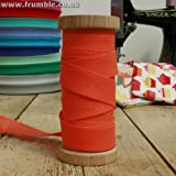 25mm 1 Inch Bias Binding Trim Tango Orange 10m Roll 100% Cotton Open Fold Tape